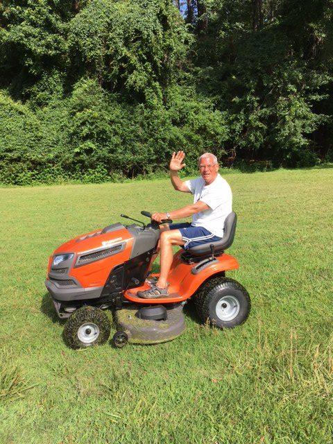 A riding mower